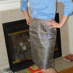 Butterick 6570 Blue Brocade Skirt